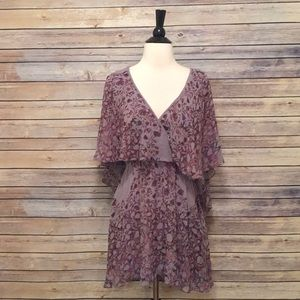 Free People Purple Floral Flowy Mini Dress